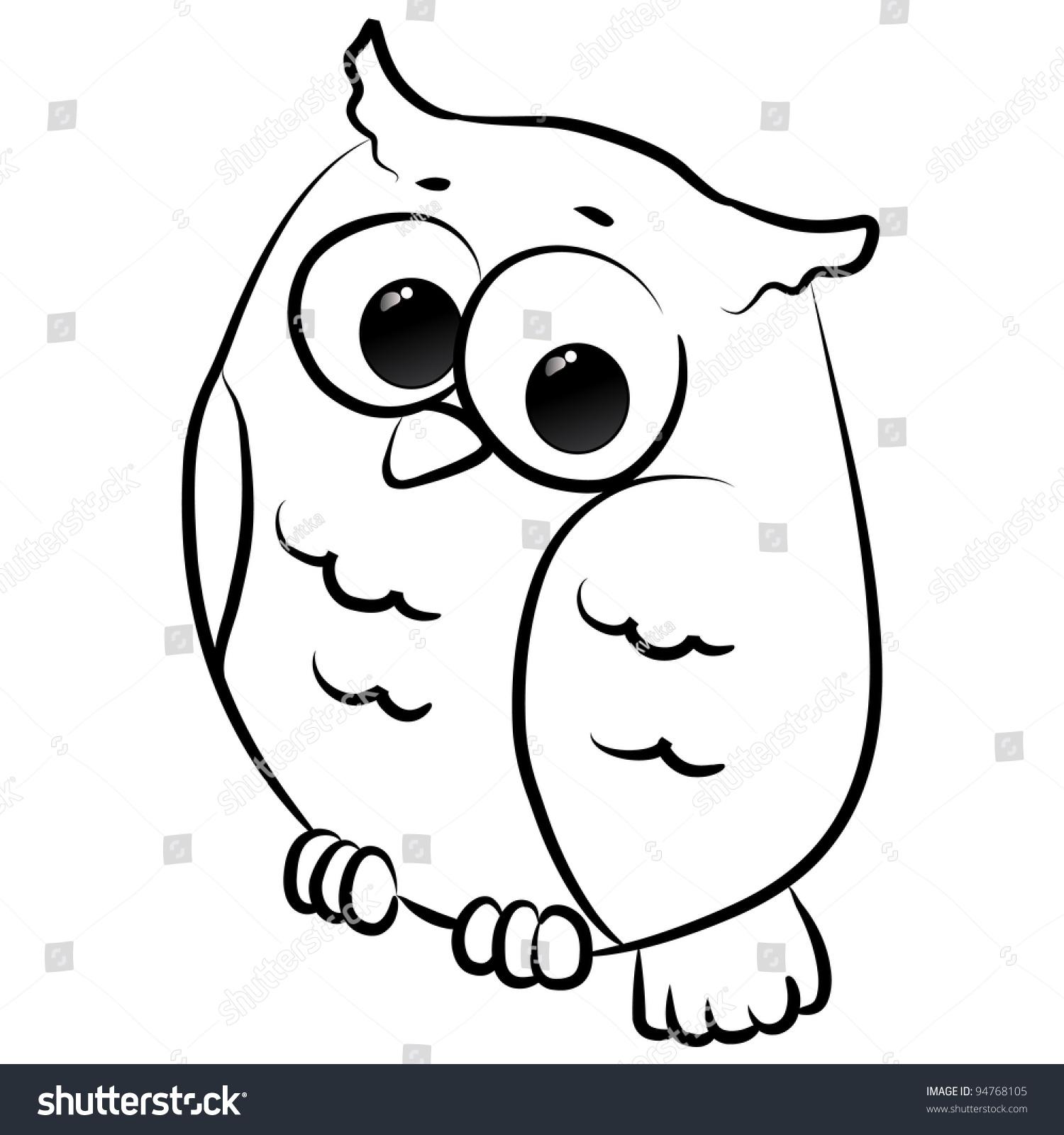 Cute Little Owl Cartoon Line Art Stock Vector 94768105