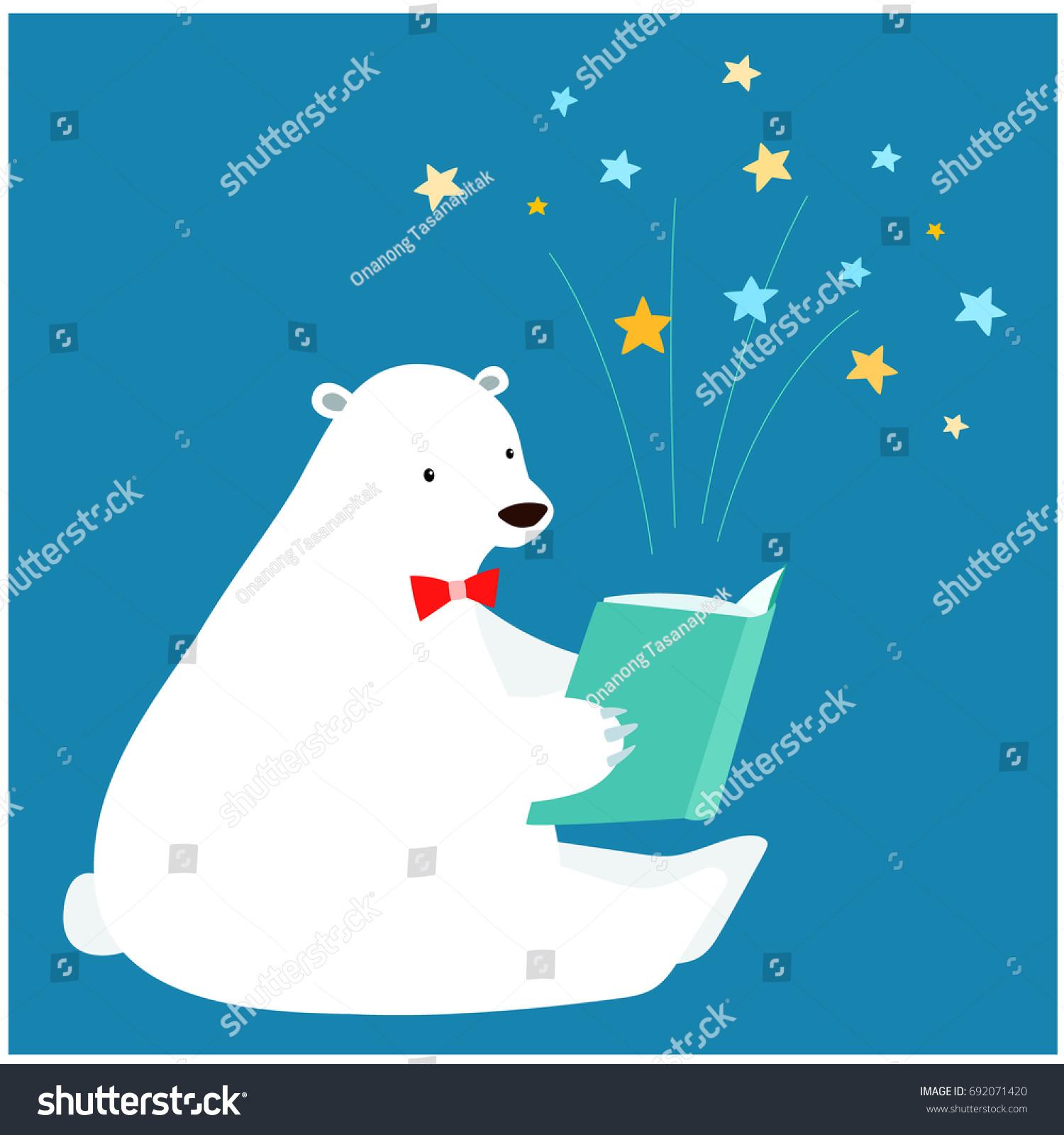 Cute Polar Bear Reading Book Vector Stock Vector