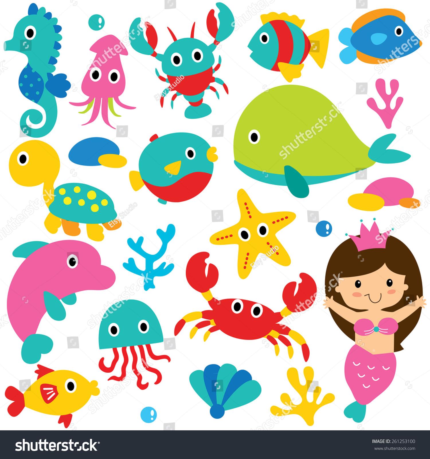 Cute Sea Animals Clip Art Set Stock Vector