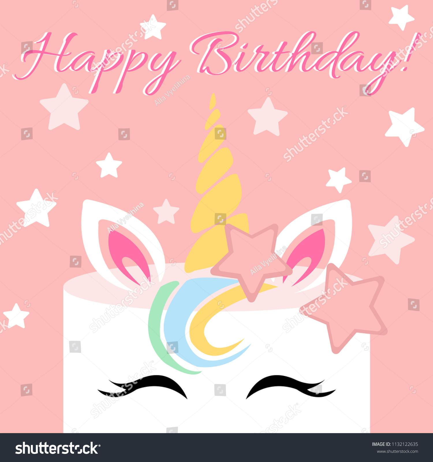 https www shutterstock com image vector cute vector unicorn on pink background 1132122635