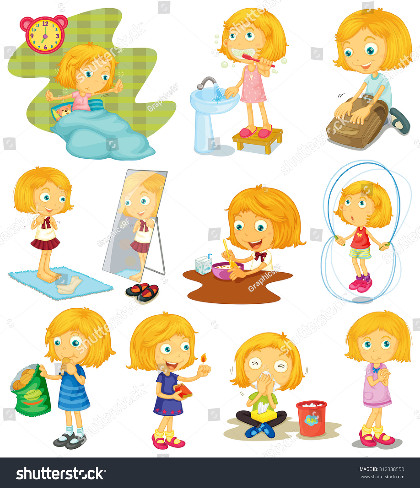 Daily Routine Girl Illustration Stock Vector
