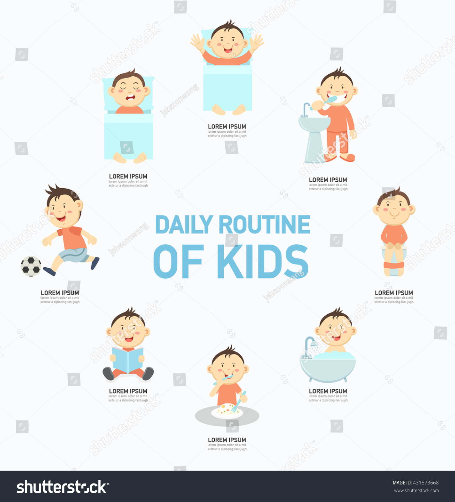 Daily Routine Kids Infographicvector Illustration Stock Vector