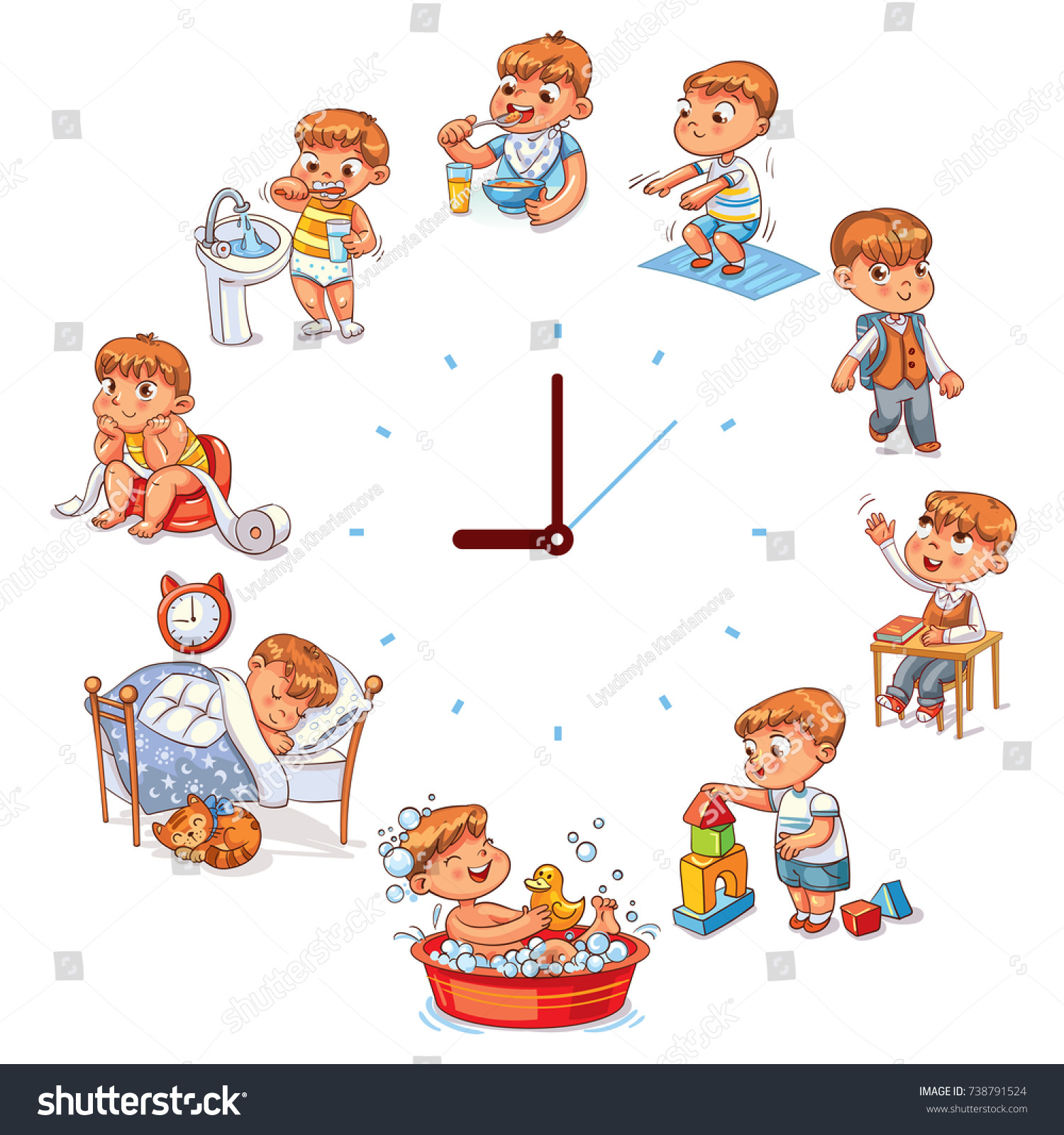 Daily Routine Simple Watches Vector Set Stock Vector