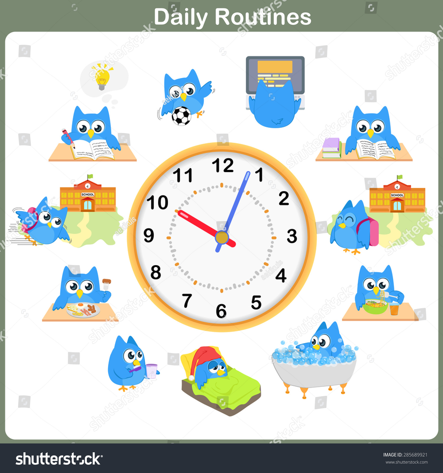 Daily Routines Sheet Worksheet Education Stock Vector