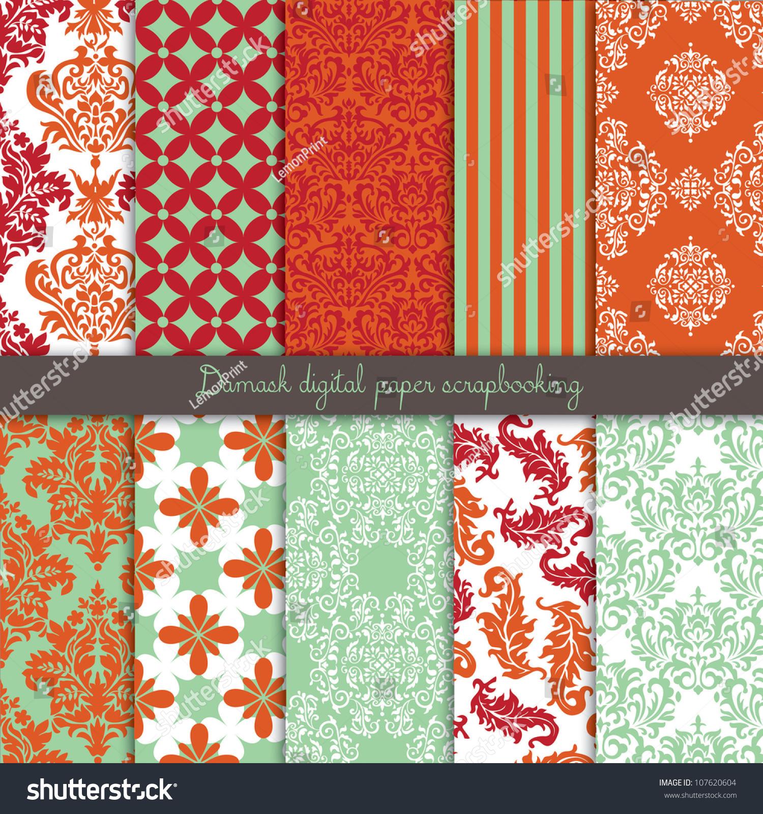 Damask Scrapbook Paper Stock Vector Illustration 107620604 : Shutterstock
