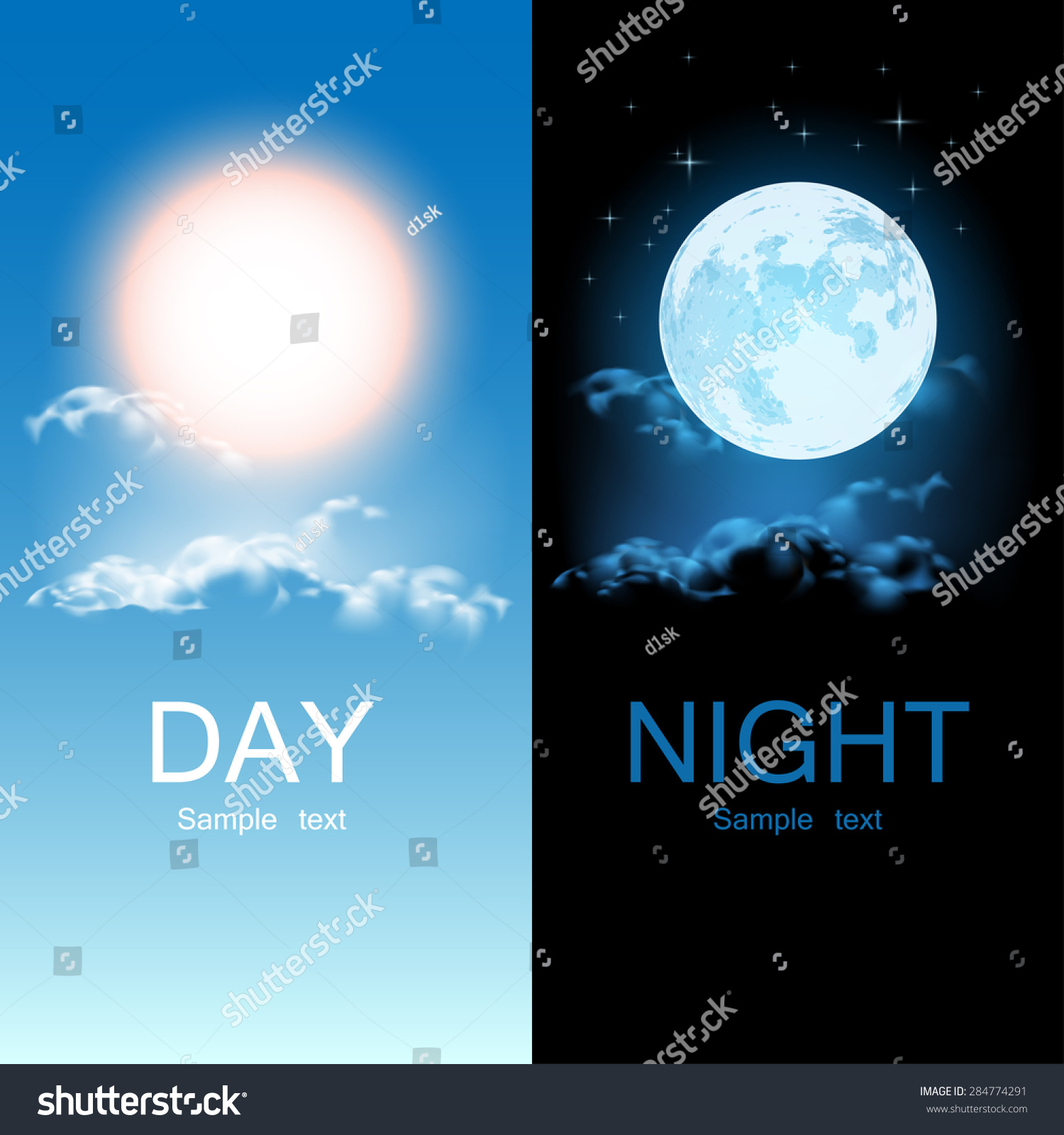 Day Night Illustration Stock Vector
