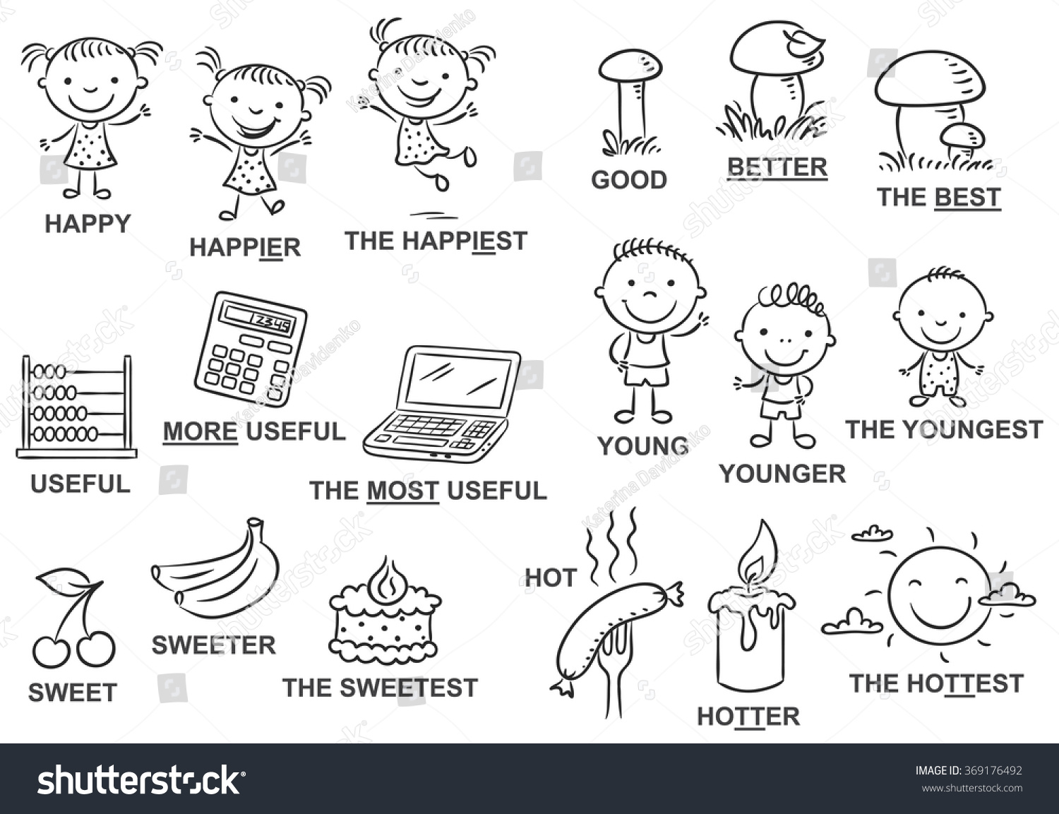 Degrees Comparison Adjectives Pictures Black White Stock