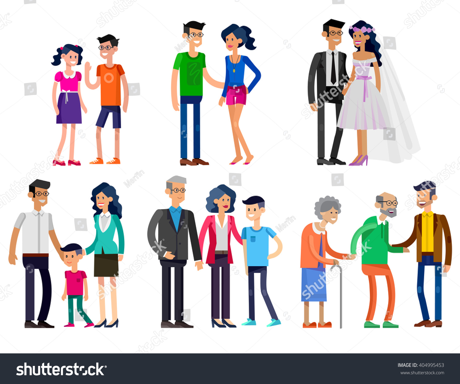 Detailed Character People Stages Life Young Stock Vector