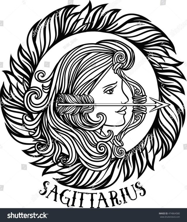 Detailed Sagittarius Aztec Filigree Line Art Stock Vector (Royalty