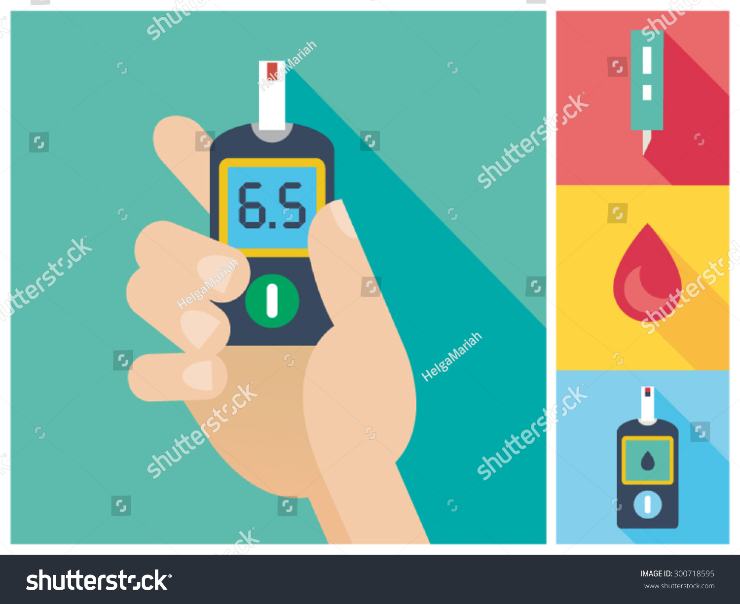 Diabetes Flat Icon Set Blood Glucose Stock Vector