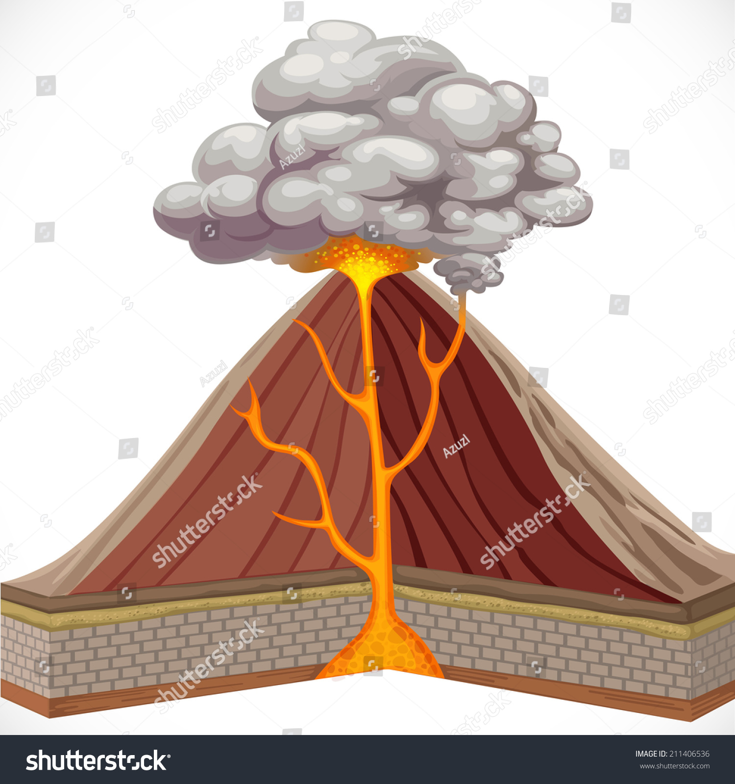 Diagram Volcano Isolated On White Background Stock Vector