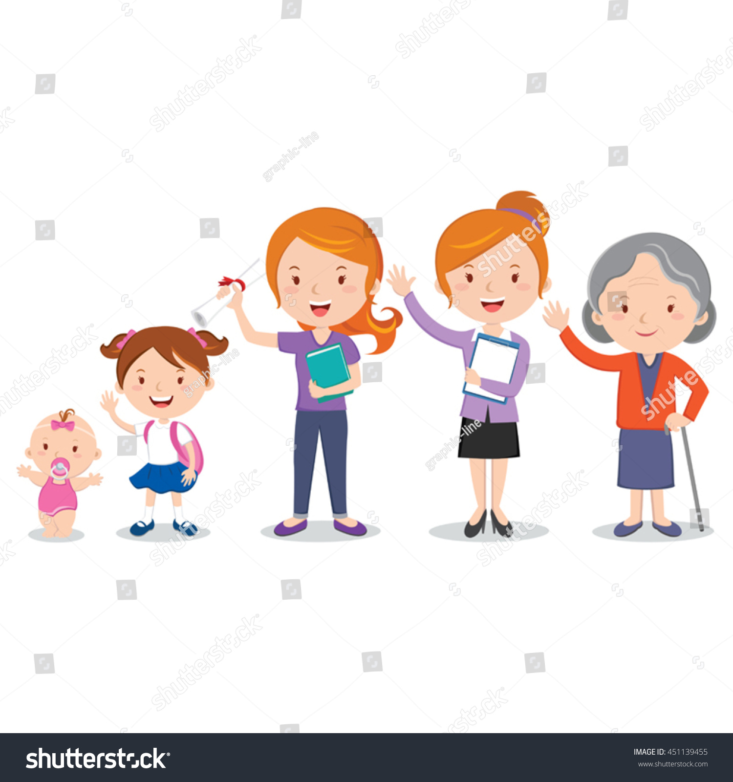 Different Stages Womans Life Vector Illustration Stock