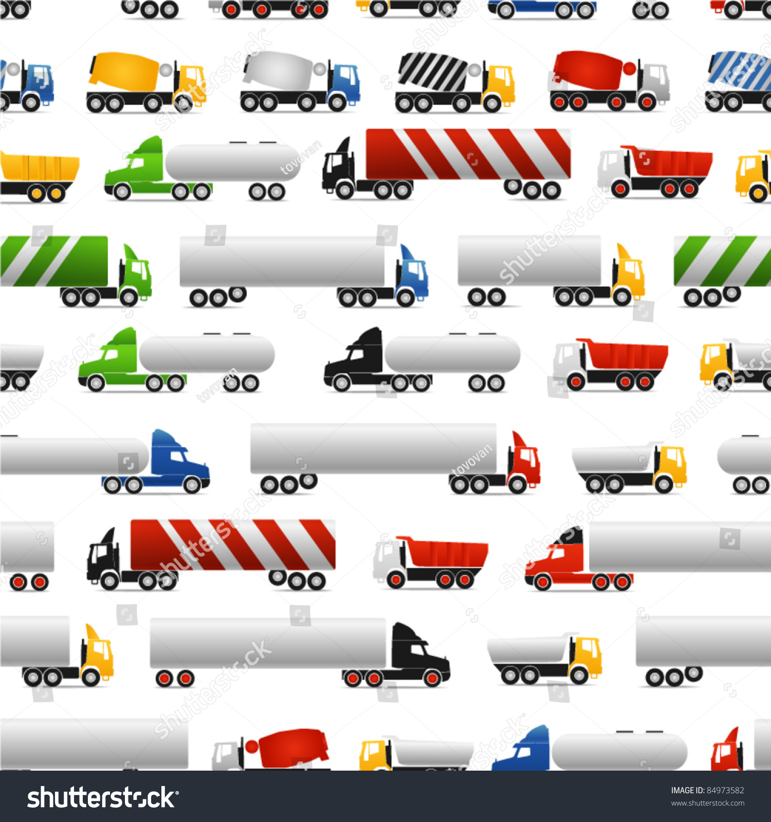 Different Types Of Trucks Seamless Background Stock Vector