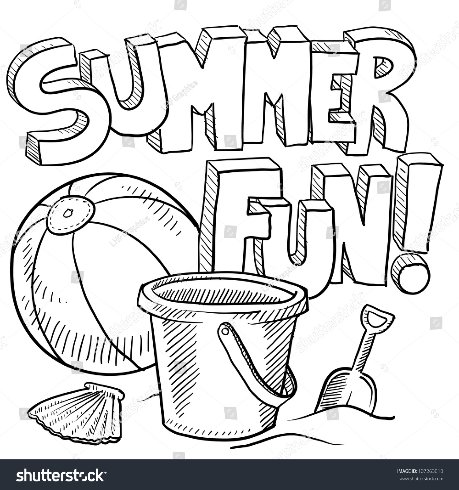 Doodle Style Sketch Of Summer Fun Including Title Beach