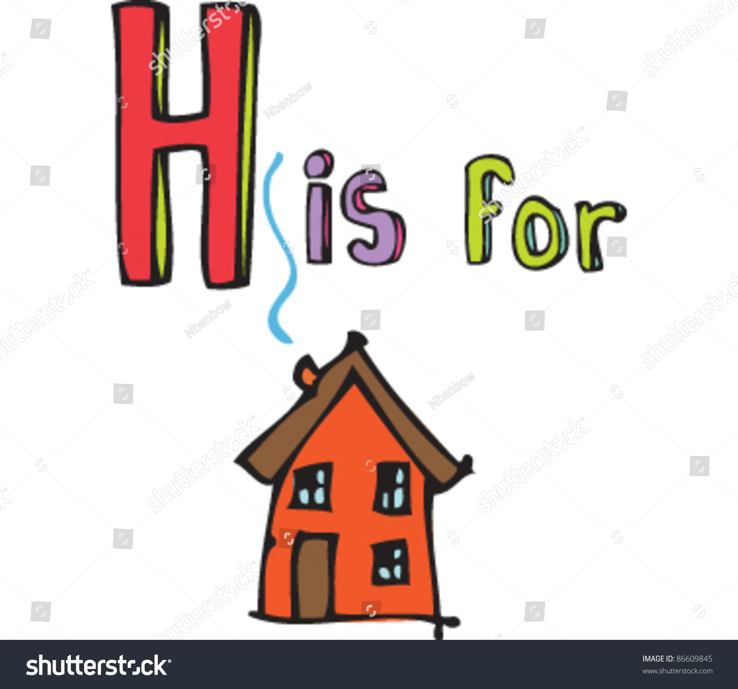 Drawing Of Letter H Is For House Stock Vector