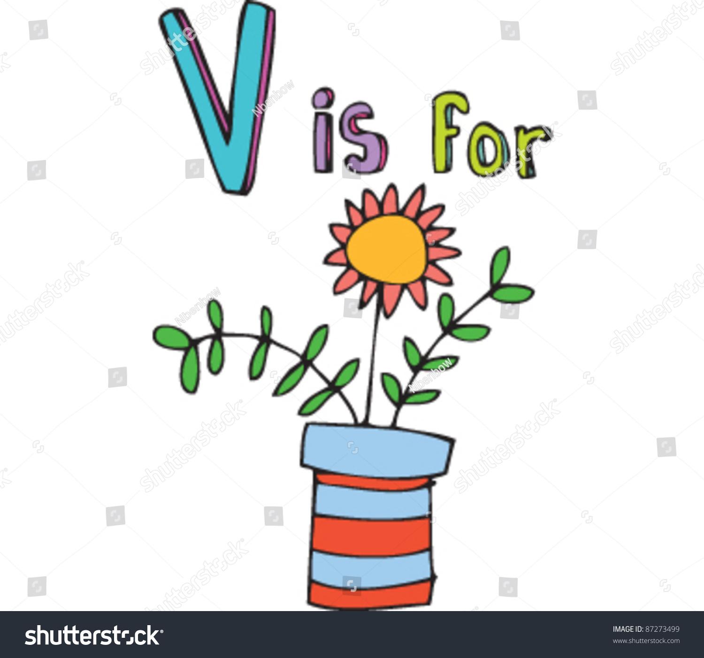 Drawing Letter V Vase Stock Vector
