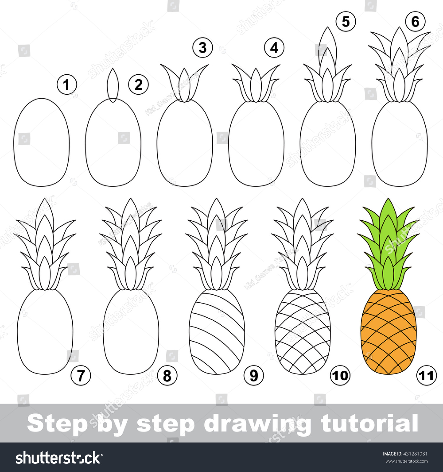 Drawing Tutorial Children Easy Educational Kid Stock