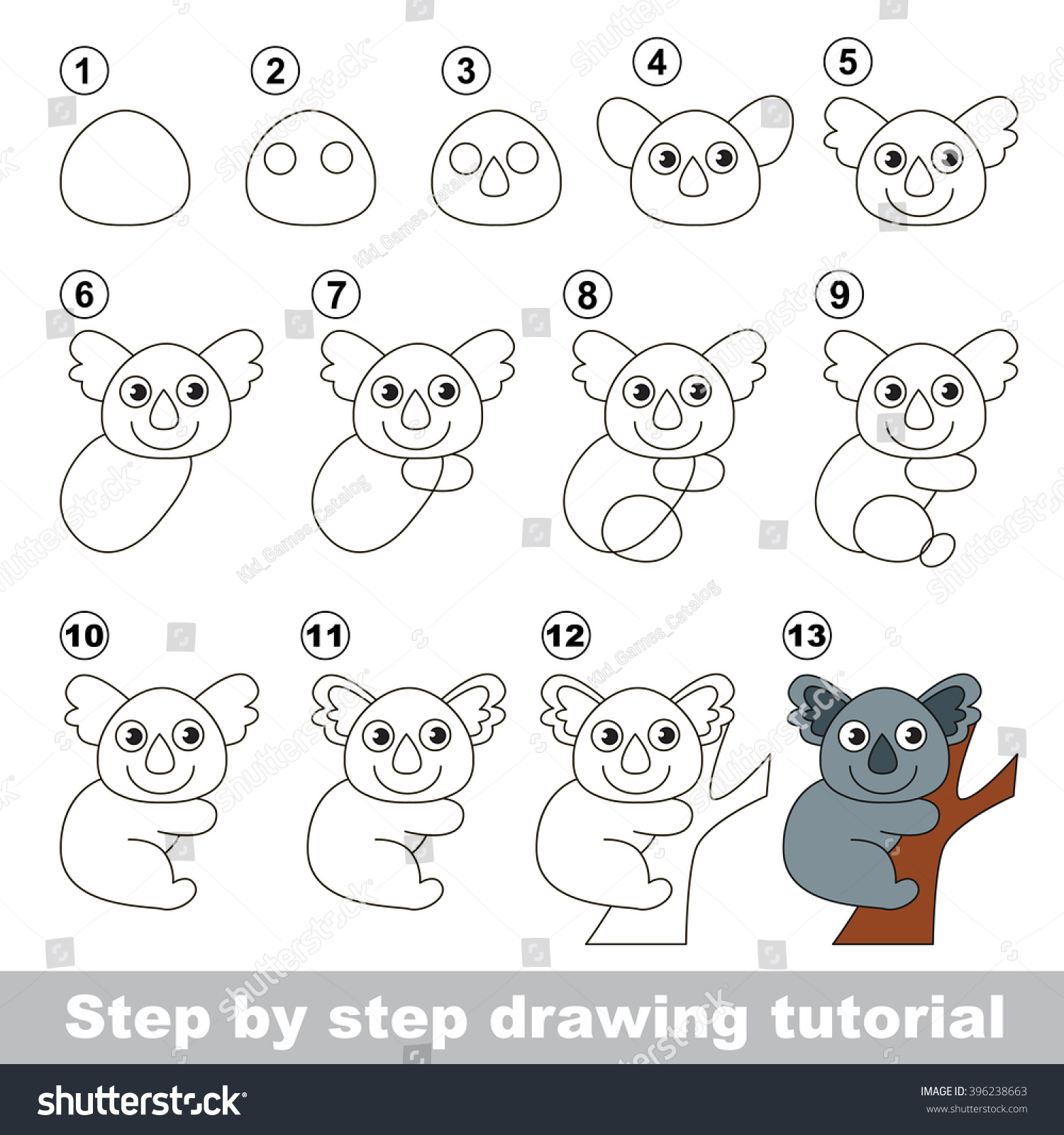 Drawing Tutorial Children How Draw Cute Stock Vector