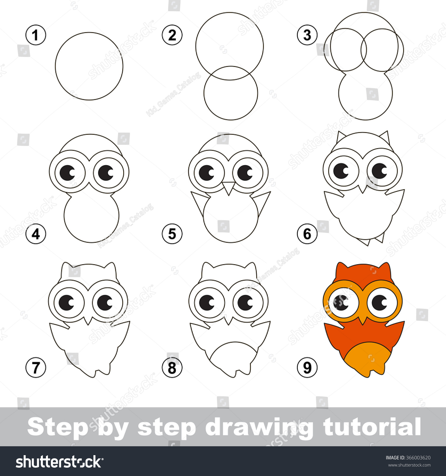 Drawing Tutorial How Draw Cute Owl Stock Vector