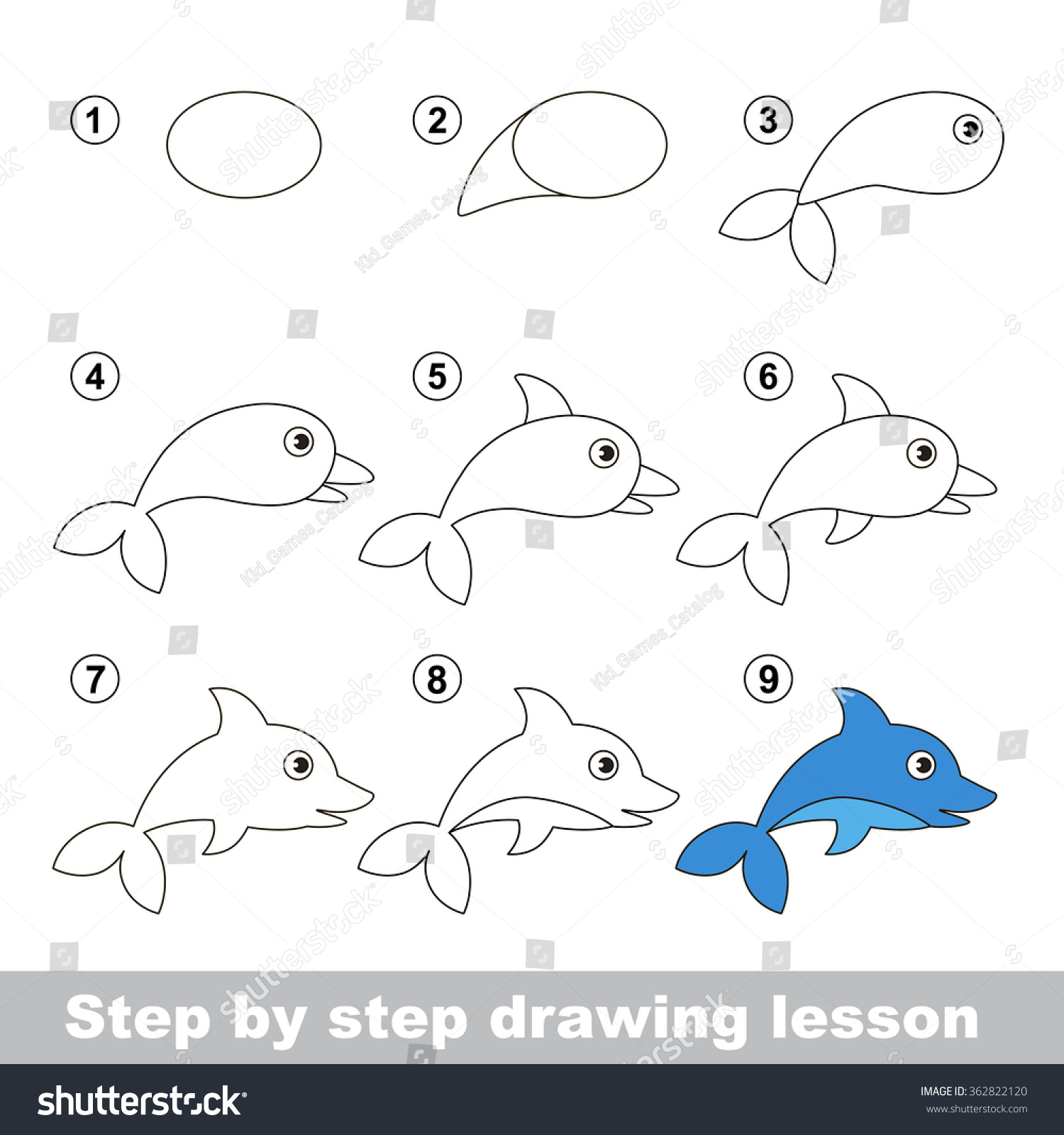 Drawing Tutorial How Draw Dolphin Stock Vector