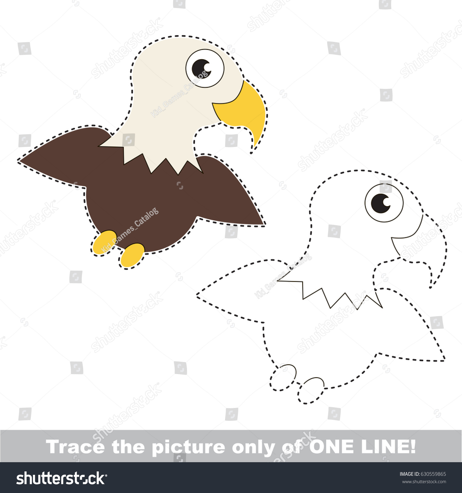 Eagle Dot Dot Educational Game Kids Stock Vector