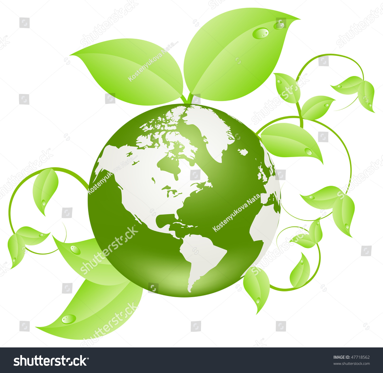 Earth Covered Green Plants Environment Concept Stock