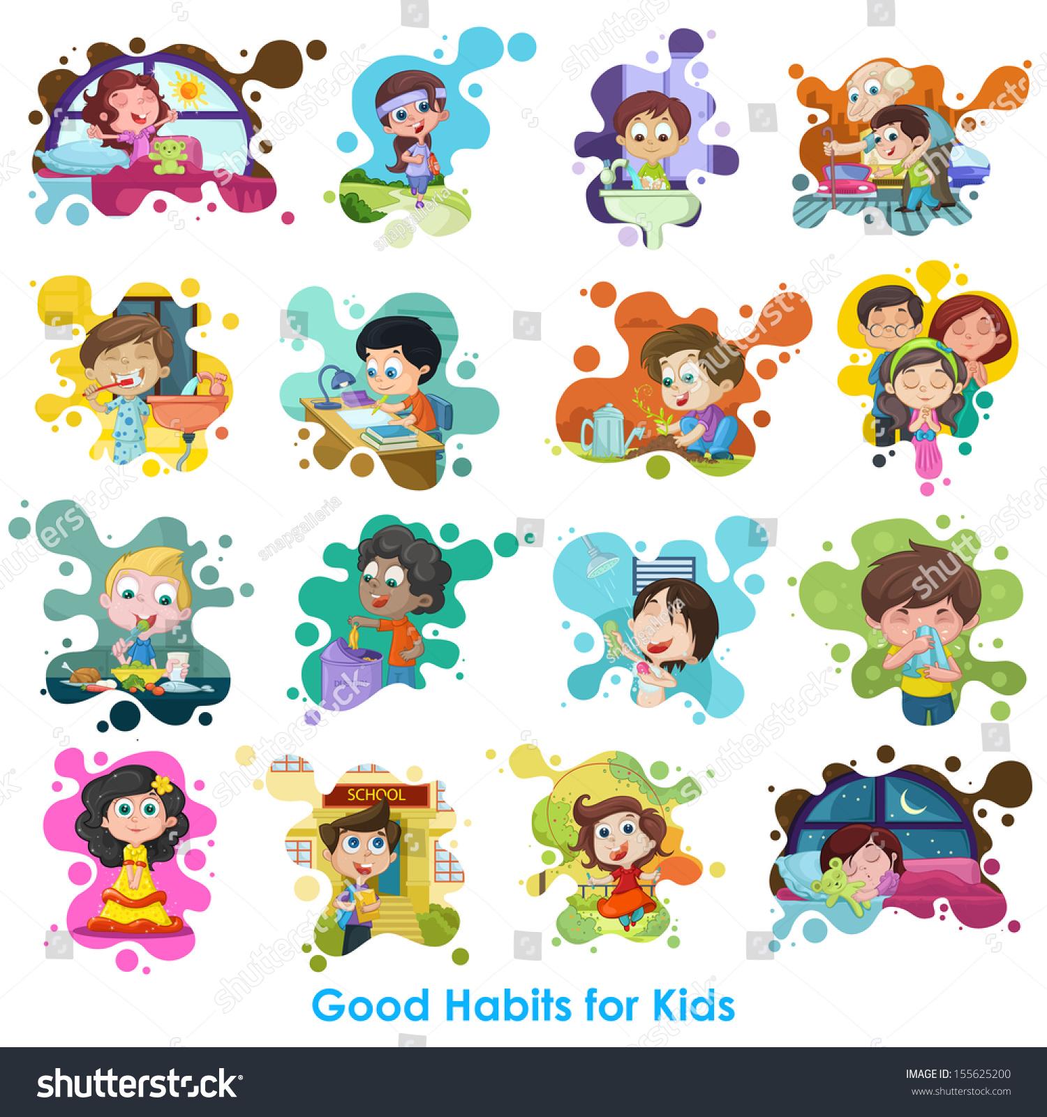 Easy Edit Vector Illustration Good Habits Stock Vector