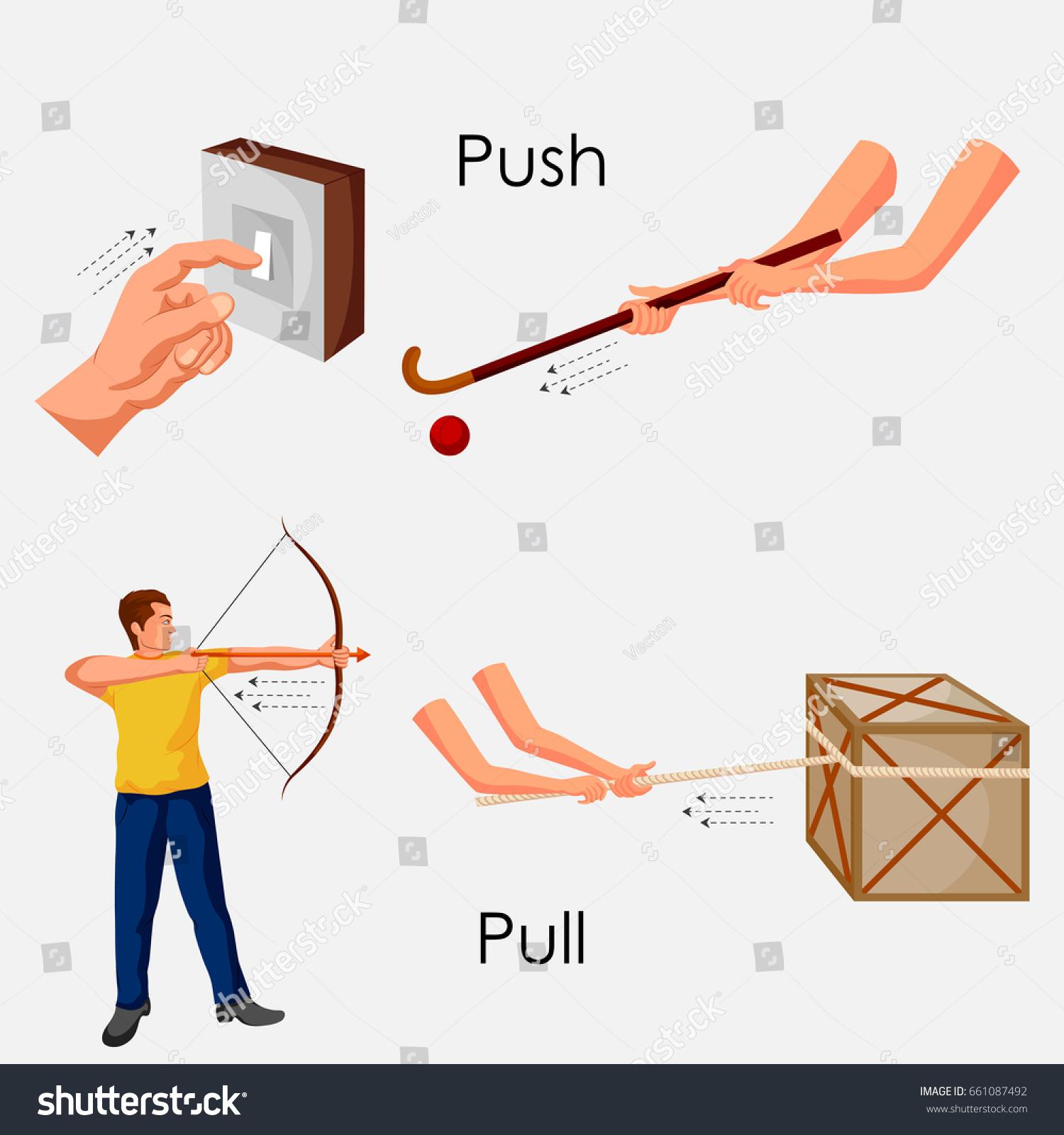 Education Chart Physics Push Pull Diagram Stock Vector