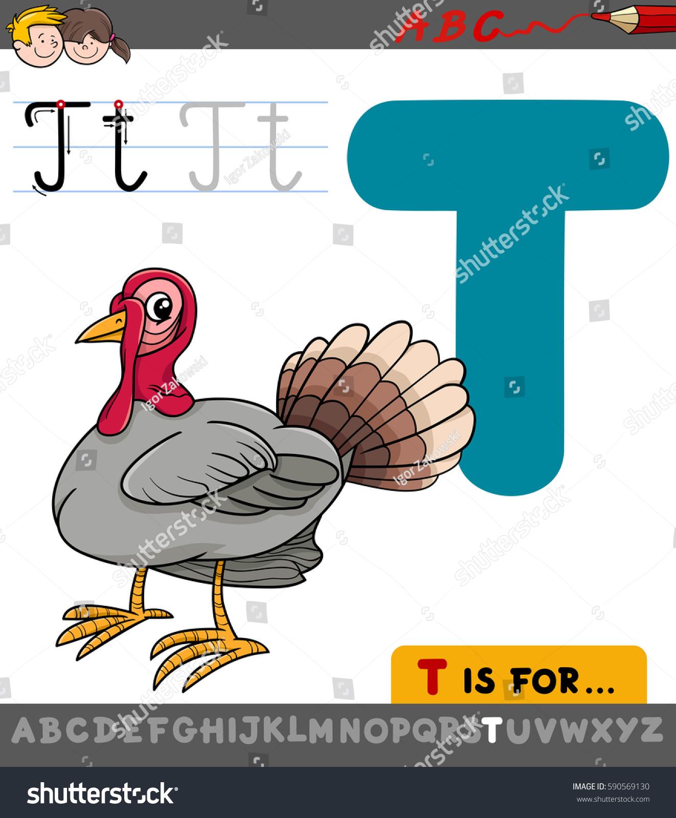 Educational Cartoon Illustration Letter T Alphabet Stock