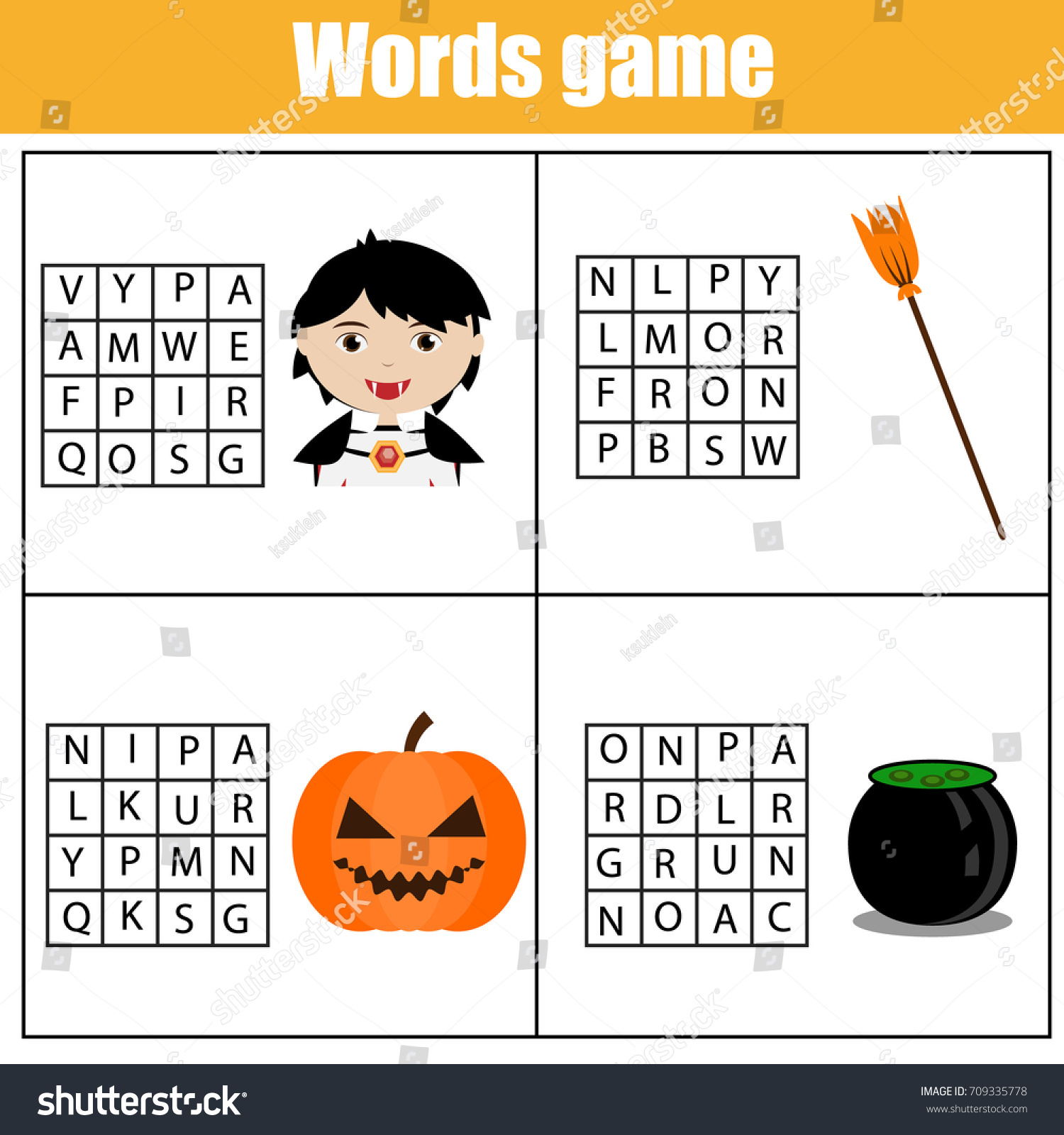 Educational Children Game Word Search Puzzle Stock Vector