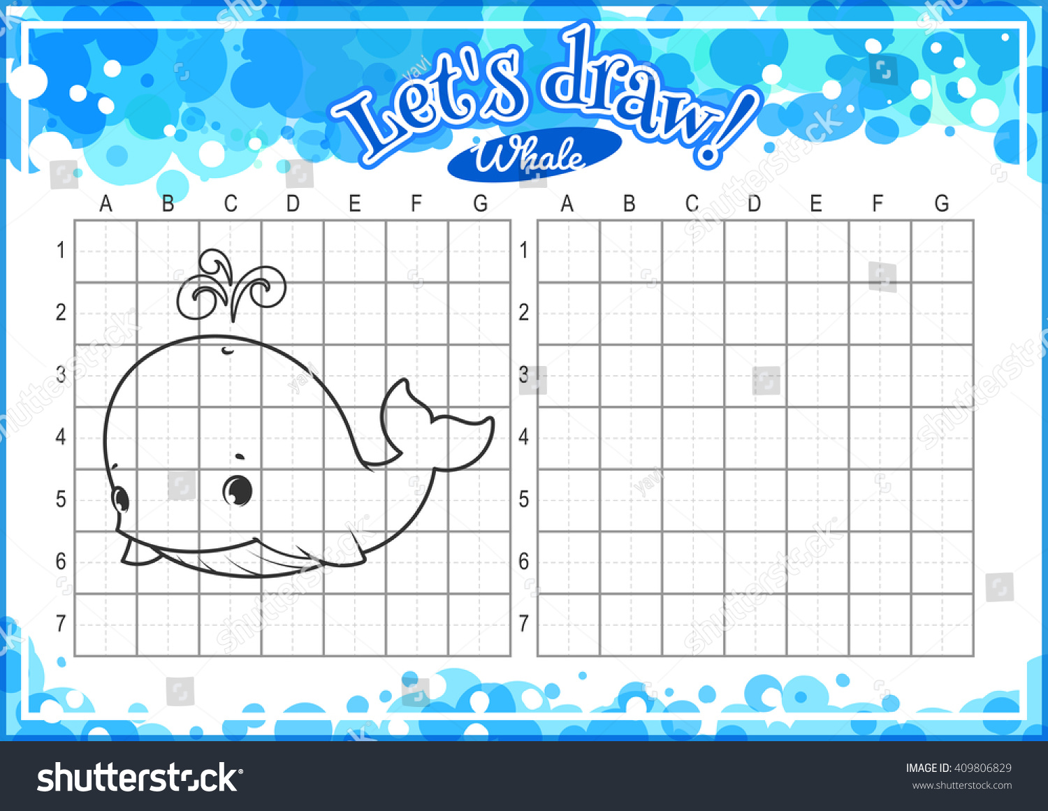 Educational Game Kids How Draw Cute Stock Vector