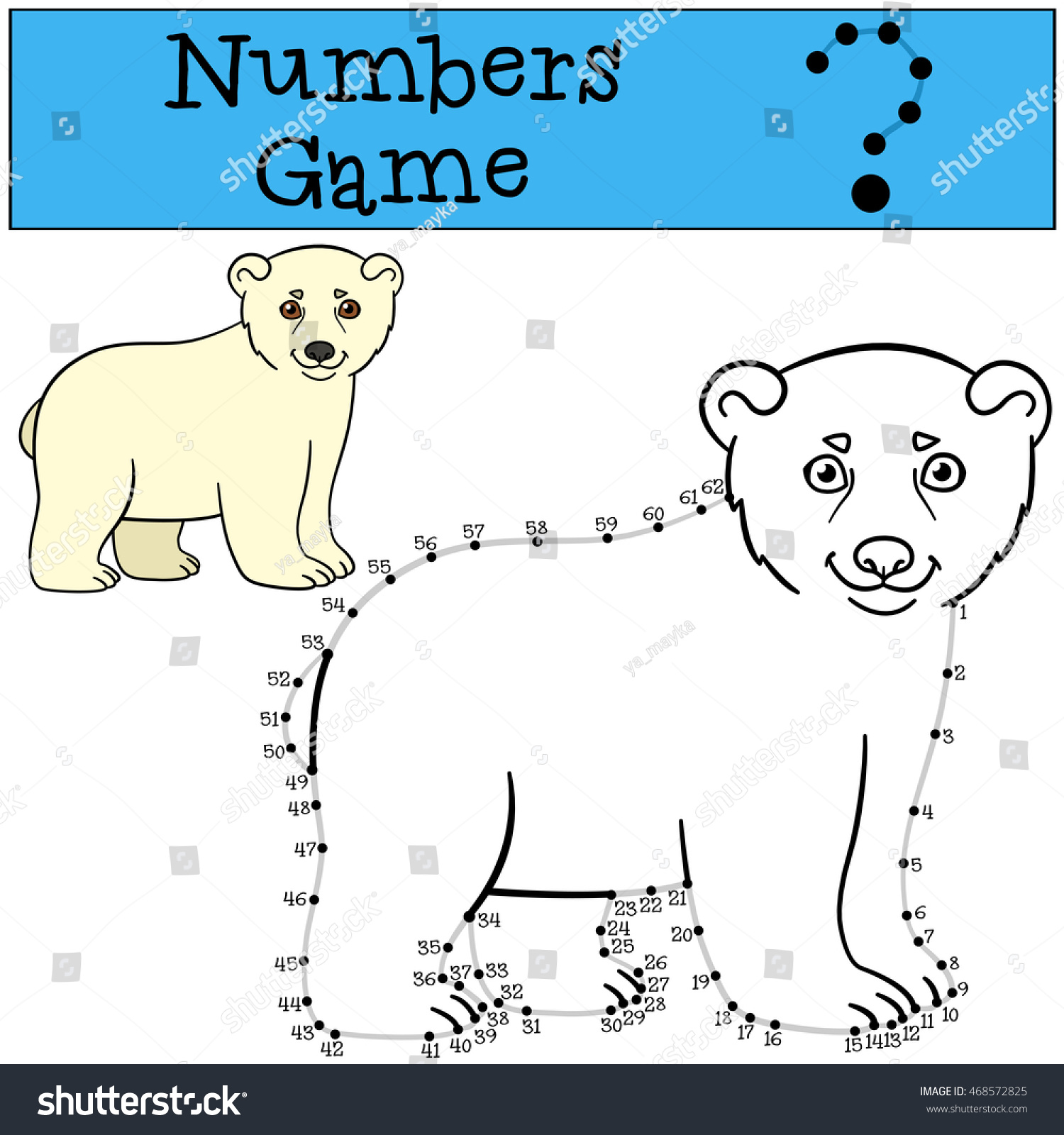 Educational Game Numbers Game Contour Little Stock Vector
