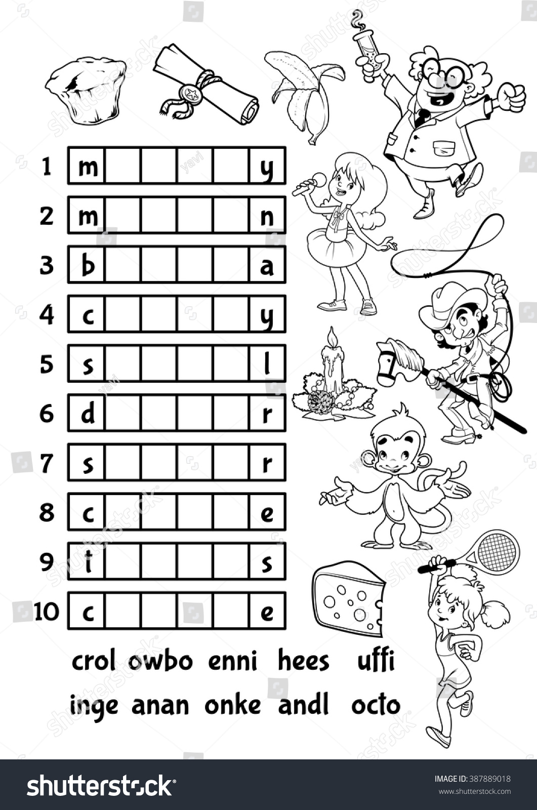 Educational Rebus Game Preschool Kids Find Stock Vector