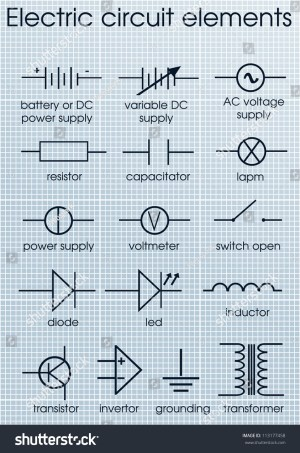 Electric Circuit Symbol Element Set Stock Vector 113177458  Shutterstock