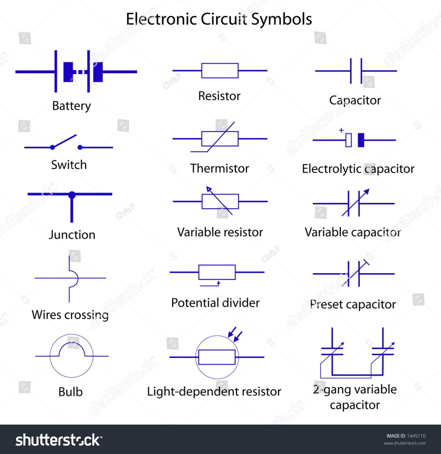 Electronic Circuit Symbols Stock Vector
