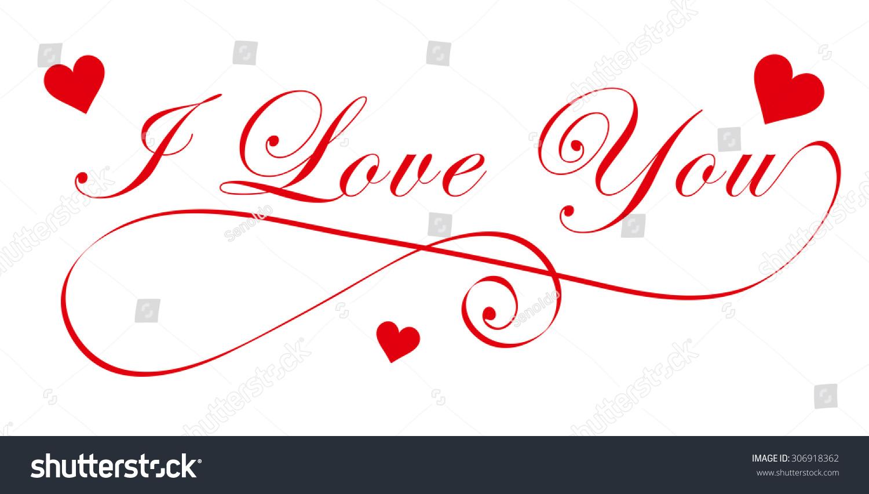 Elegant Love You Handwriting Font Red Stock Vector