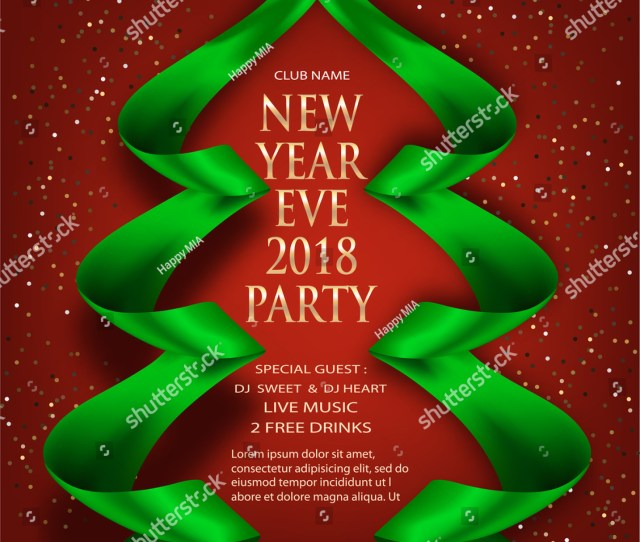 Elegant New Year Eve Invitation Card With Green Ribbons In Shape Of Christmas Tree Vector