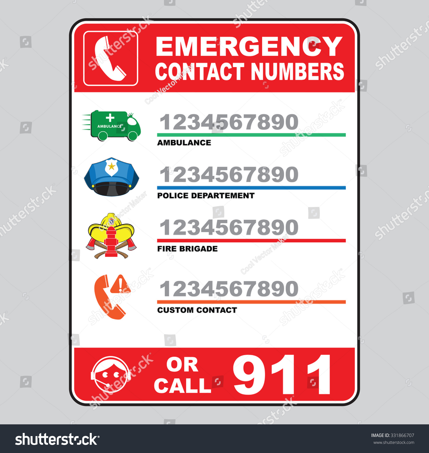 Emergency Call Number Sign Ambulance Police Stock Vector