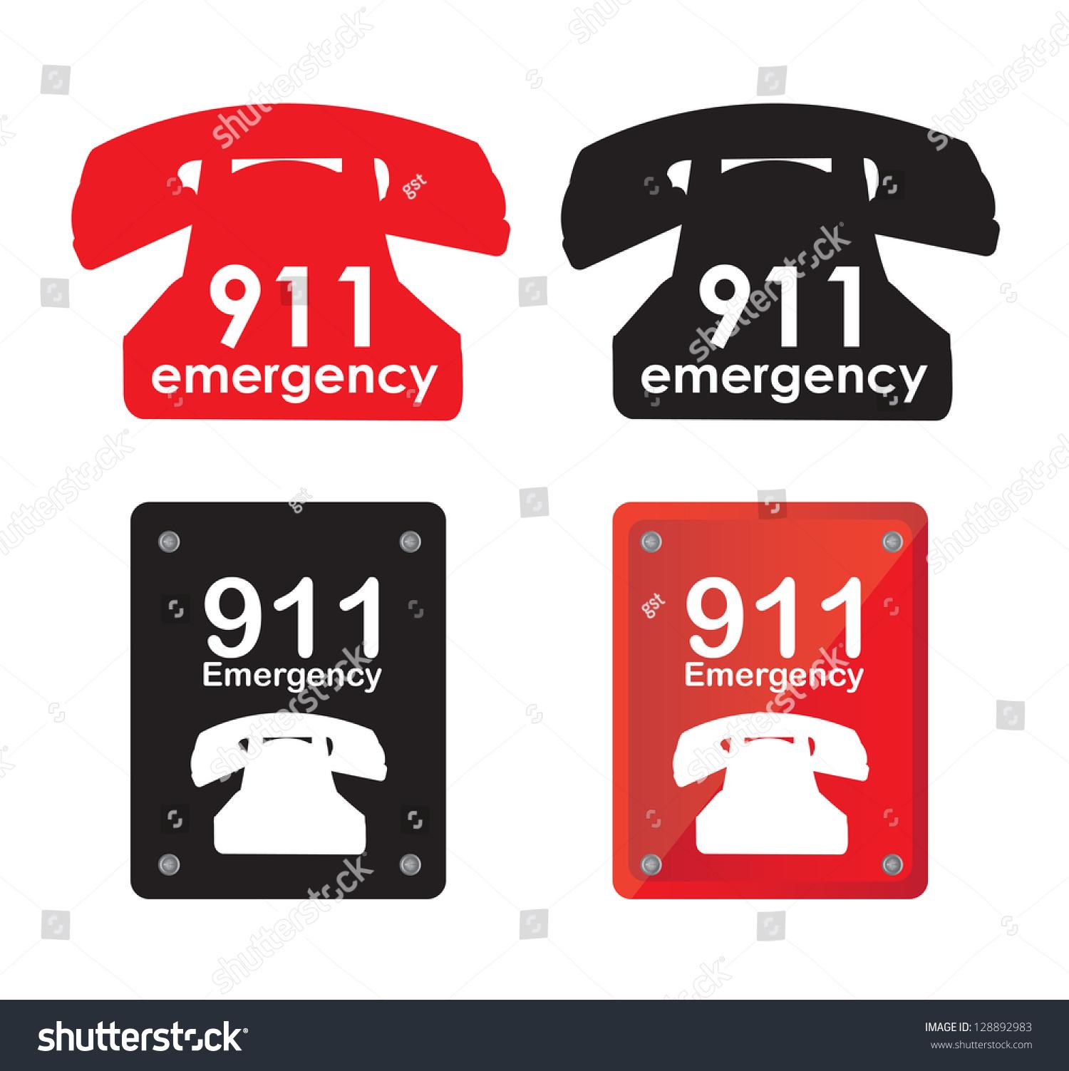 Emergency Telephone Over White Background Vector