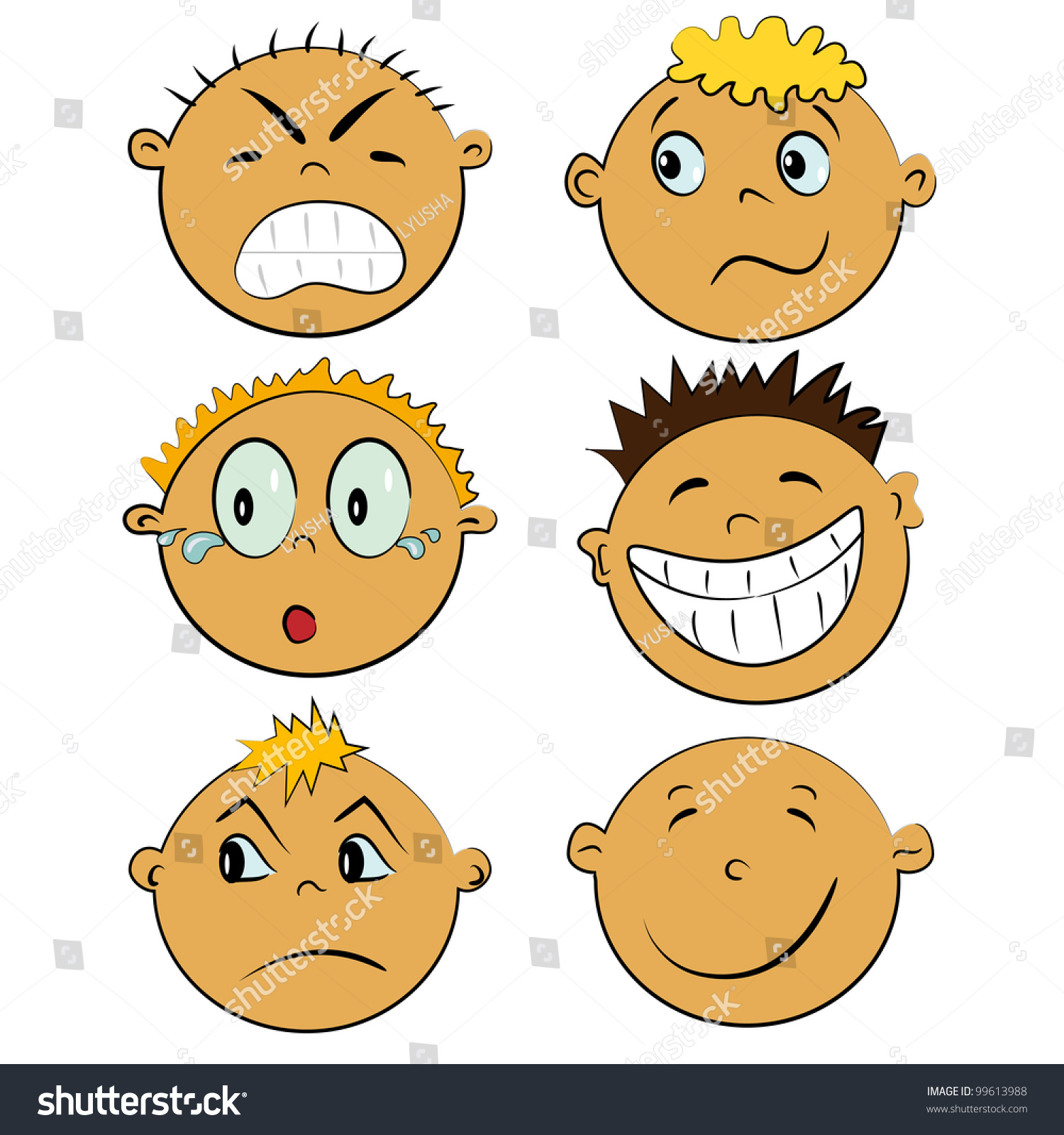 Emotion Faces Set Cartoon Children Emotions Stock Vector