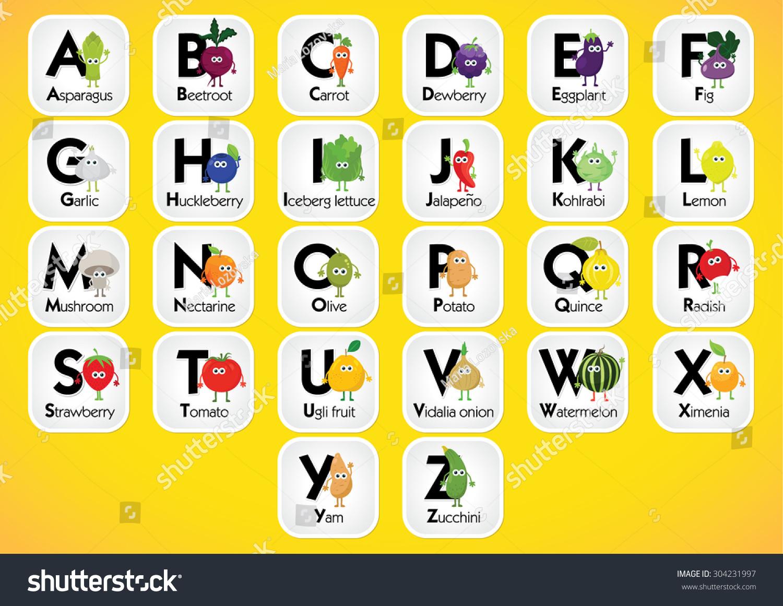 English Alphabet Kids Fruits Vegetables Back Stock Vector