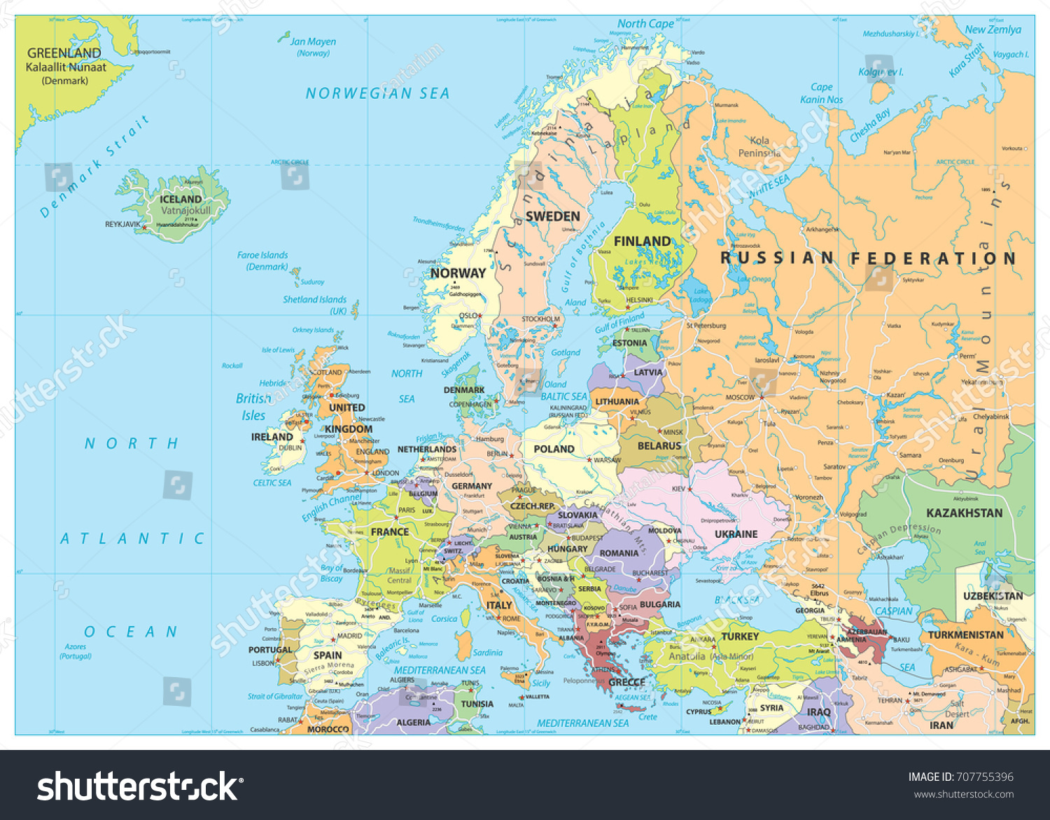 Europe Political Map Roads Detailed Vector Stock Vector