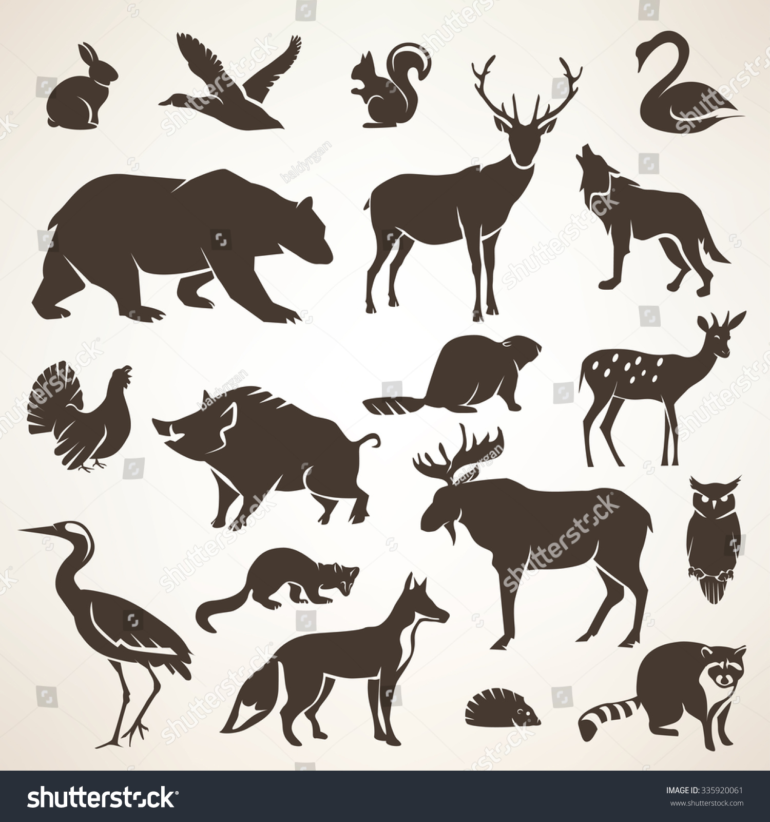 European Forrest Wild Animals Collection Stylized Stock