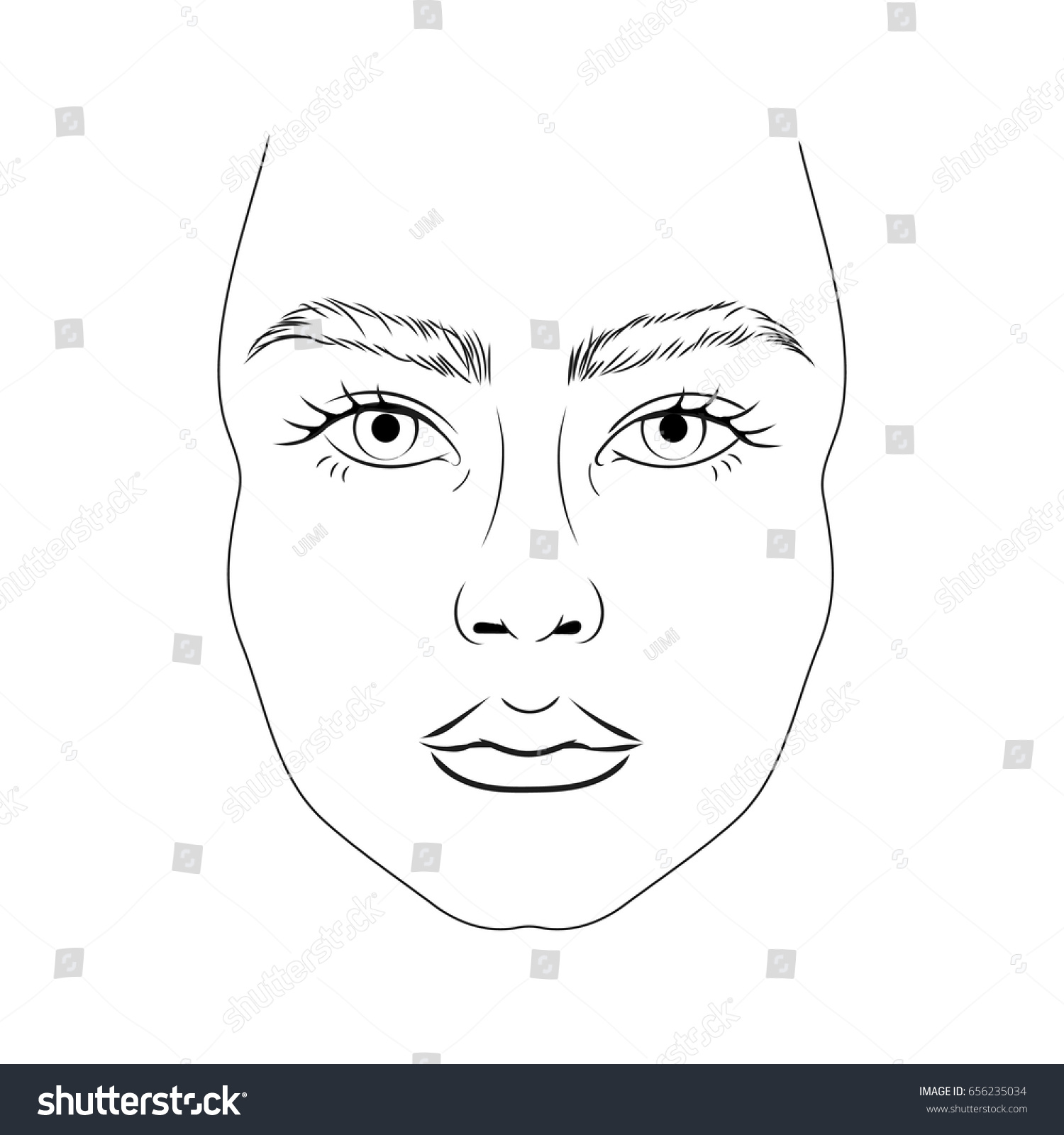 Face Chart Model No Makeup Thick Stock Vector