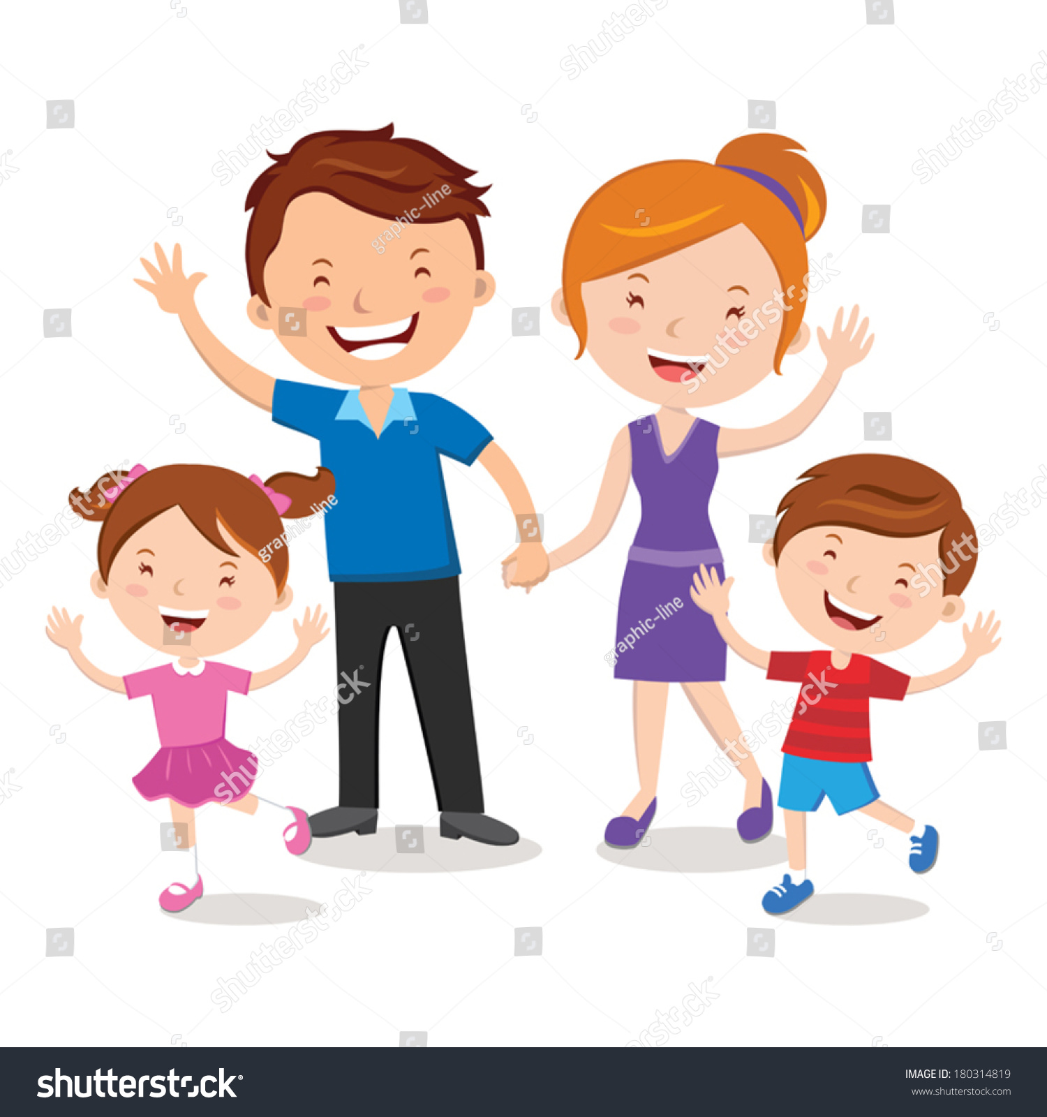 Family Portrait Happy Family Gesturing With Cheerful