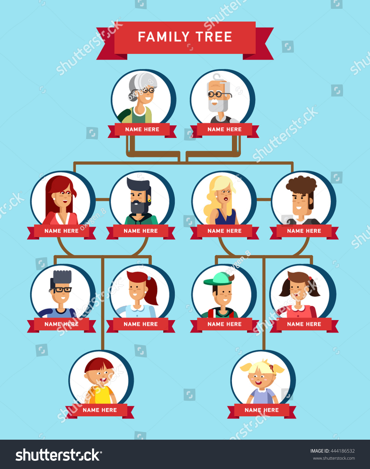 Family Tree Generation Illustratuion People Faces Stock Vector