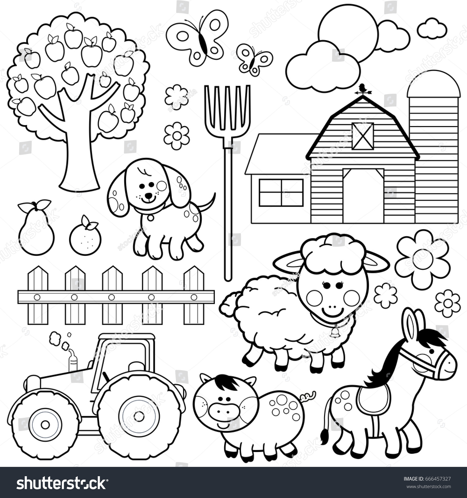 Farm Animals Black White Coloring Book Stock Vector