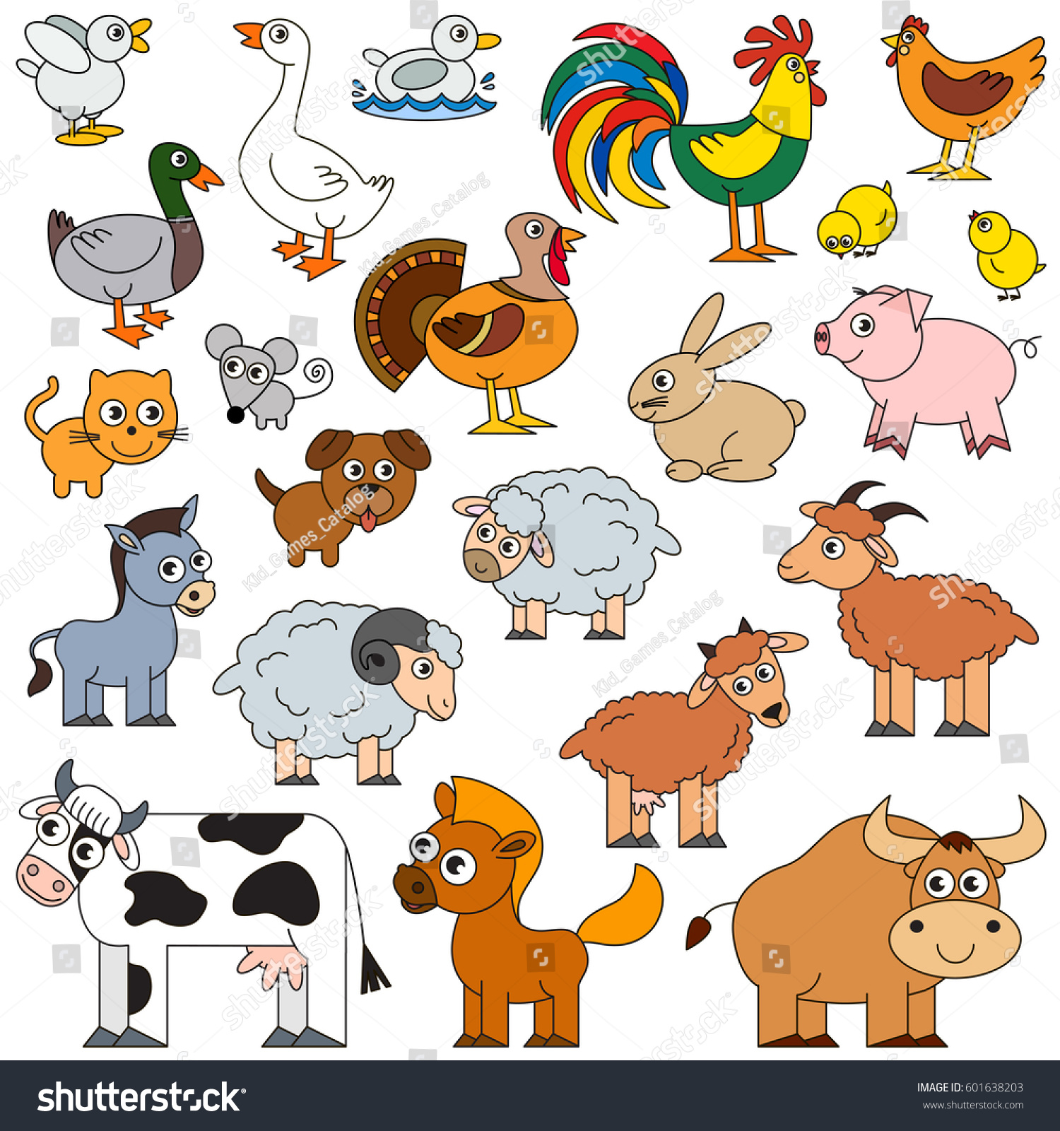 Farm Animals Set Vector Colorful Version Stock Vector