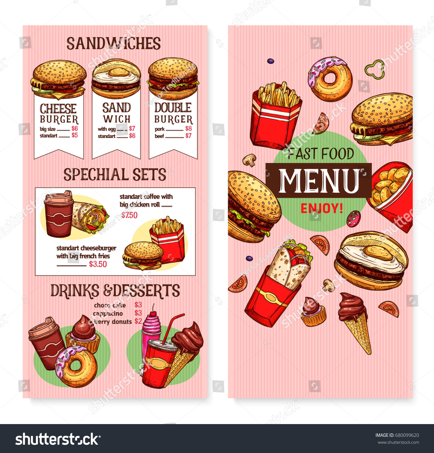 Fast Food Restaurant Menu Vector Template Stock Vector