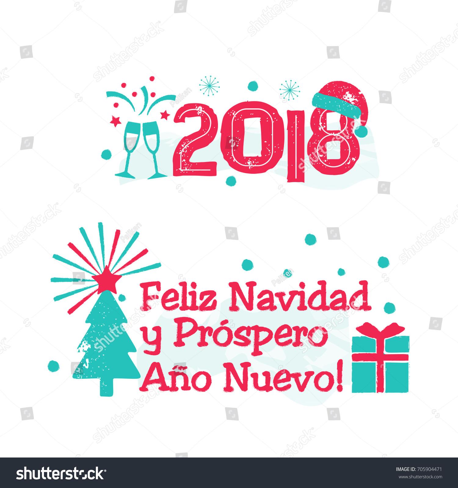 Feliz Navidad Merry Christmas Spanish Language Stock
